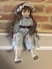Porcelain Doll, Sitting, Blue Floral Dress And Hat