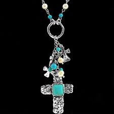 Western Cowgirl Turquoise Pearl Cross Charms Chain Pendant Necklace Earring Set