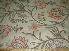 ~5 3/8 YDS~FLOWERS~EMBROIDERED NUBBY UPHOLSTERY FABRIC FOR LESS