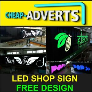Illuminated SHOP SIGN - 120cm x 50cm - GREAT QUALITY + FREE DESIGN