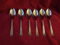 A Set Of Six Sepelia Sheffeild Stainless Dessert Spoons c 1936 Rose pattern