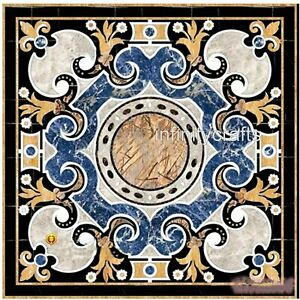 20 Inch Marble Coffee Table Top Inlay Floral Design Patio Table for Garden Decor
