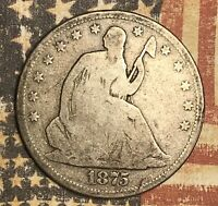 1875-S SEATED LIBERTY SILVER HALF DOLLAR COLLECTOR COIN. FREE SHIPPING