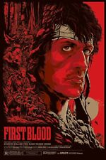 """FIRST BLOOD Sylvester Stallone REPRO CUSTOM SCREEN PRINT 27x41"""" quad poster UK"""