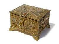 Late 19thC French Gilt Cast Copper Padded Jewellery Box Casket AB Paris + Key