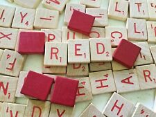 184 Wooden Scrabble Game Letter Tiles Red Letters Replacement Mixed Media Crafts