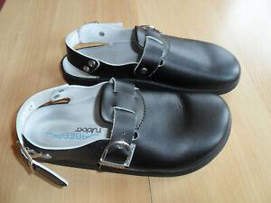 Arbeitsschuhe - Clogs *ABEBA  rubber* Gr. 43 schwarz Leder Rutschhemmend wie NEU