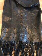 Vintage Karen Millen Long Black Leather Pencil Skirt | Leather Tassles | UK 12