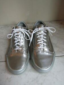 Vans Off The Wall Old Skool Silver Leather Lace Up Sneaker Shoe Women 7.5 EU 38
