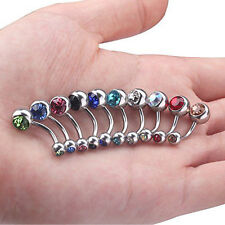 Lot of 10pcs 14G Double Gem Belly Button Ring Body Jewelry Piercing-Nice