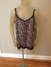 NWT Beverly Drive Animal LEOPARD Print V-Neck LACE Cami Tank Womens 1X