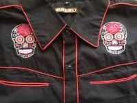 Mens rockabilly western shirt sugar skull goth slim fit Small 38 chest