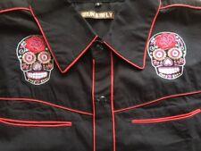 Mens rockabilly western shirt sugar skull goth Tattoo slim fit Medium 40 chest