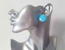 "1 pair of big & fab BLUE 1"" flat plastic button style stud earrings - NEW"