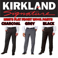 NEW Kirkland Signature Men's Wool Flat Front Dress Pant Slacks VARIETY