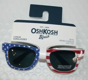 New OshKosh Boys Sunglasses July 4th Flag 100% UVA-UVB 0-24 months 0-2 years