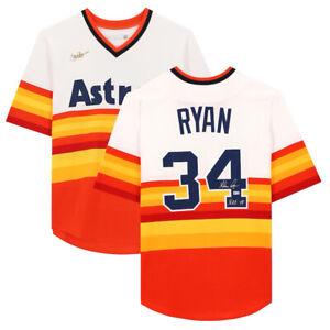 "NOLAN RYAN Autographed ""HOF 99"" Houston Astros Rainbow Throwback Jersey FANATICS"