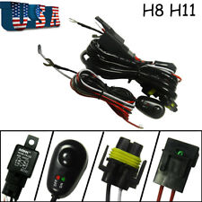 H8 H11 Relay Harness Wire Kit + LED ON/OFF For Chevrolet Fog Light HID Worklamp