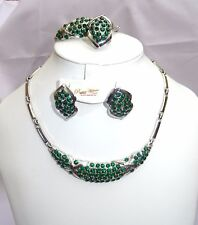 Green Rhinestones Beautiful Silver Plated Wedding Party Necklace Jewelry Set