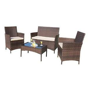 4 Pieces Outdoor Patio Furniture Sets Rattan Chair Wicker Set, Brown and Beige