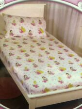DISNEY PRINCESSES PETAL SINGLE BED FITTED SHEET & PILLOWCASE SET (White) flowers