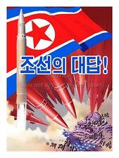 "North KOREA Anti-American Propaganda Poster Print Nuclear Missiles 18x24"" #NK003"