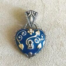 BARBARA BIXBY HEART BLUE ENAMEL ENHANCER PENDANT DESIGNER Gift