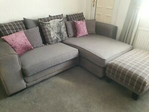SCS HAMISH CORNER SOFA WITH FOOTSTOOL AND CUDDLE CHAIR GREY PURPLE SCATTER BACK