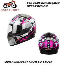 Casco moto integral ligero diseño calavera rosa.