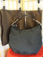 GUCCI XL Black Jacquard Horsebid Braided Strap Hobo Zip Top Shoulder Purse Nice!