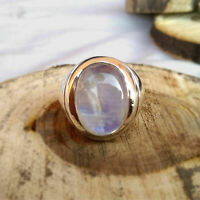 925 Sterling Silver Certified Natural Rainbow Moonstone Christmas Mens Ring