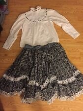 MEXICAN WHITE & GRAY 2 PIECE OUTFIT DRESS with WIDE LACE TRIM & FULL SKIRT