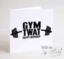 GYM T@#T! Funny Rude Birthday Card - Weights Exercise Fitness Men's Boyfriend