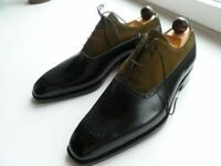 Handmade Men's Green & Black Leather & Suede Lace Up Dress Derby Brogue Shoes