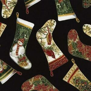Fat Quarter Christmas Stockings Cotton Quilting Sewing Fabric