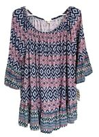 Style & Co Womens Off The Shoulder Peplum Top Plus Size 3X Blue Pink Ruffle NEW