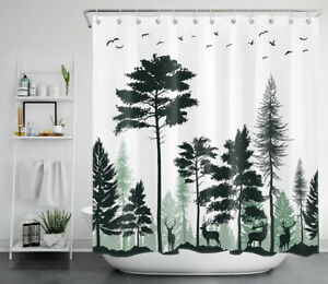 Abstract Elk Deers Forest Green and White Waterproof Fabric Shower Curtain Set