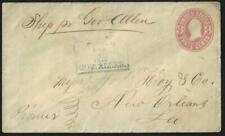US 1870 3¢ PINK POSTAL COVER POSTED ON THE GOV ALLEN SHIP WITH REGULAR PASSENGER