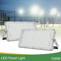 2x 100 Watt Bright LED Flood Light Cool White Outdoor Spotlight Garden Yard Lamp