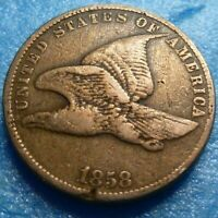 1858 SL Flying Eagle  Cent  Coin  #RR58-1