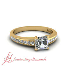 Channel Set 3/4 Carat Assher Cut Diamond Ring With Round Accents GIA Certified