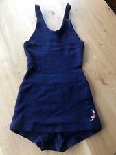 Jantzen ladies Art Deco swimsuit Blue wool swimmer 1920s vintage size 36