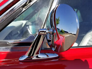 UNIVERSAL VINTIQUE STYLE CHROME ROUND EXTERIOR DOOR MIRROR LH or RH KIT RESTO