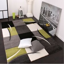 Elegant Chequered Living Room Rugs Fancy 3D Look Carpet In Grey Black Lime Green