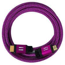i!® 3m Premium Nylon High Speed HDMI 2.0 Kabel 3D/4K/UHD/FullHD/2160p/1080p pink