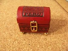 """Peru miniature box 2""""h 2.2""""w leather wrapped? hand tooled? glazed frog, crazing"""