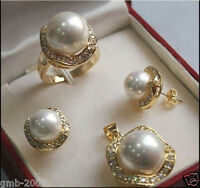 Elegant 10mm &14mm White South Sea Shell Pearl 18KGP Earrings Pendant Ring Set