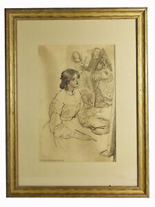"15"" Original Pencil Sketch Alice Barber Stephens Drawing Young Woman Angels Art"