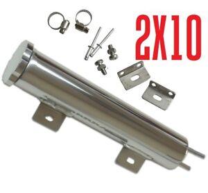 """2"""" x 10"""" POLISHED Aluminum RADIATOR OVERFLOW TANK BOTTLE"""