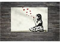 HE LOVES ME BANKSY - CANVAS WALL ART Picture Print